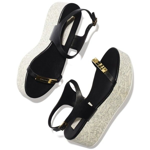 Stella McCartney Flatform Sandal Goop ❤ liked on Polyvore featuring shoes, sandals, gold sandals, lightweight shoes, stella mccartney, gold flatform sandals and gold shoes