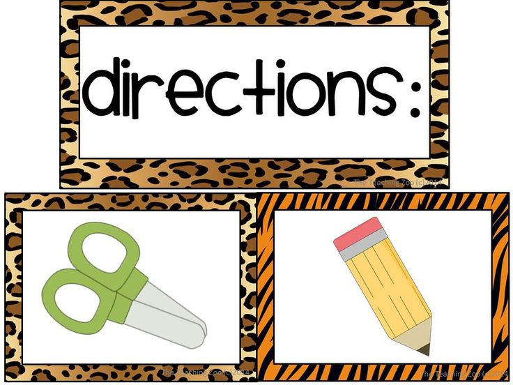 Zoo Animal Print Classroom Picture Directions {Freebie!}