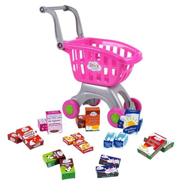 ICYMI: Pink Shopping Cart Kids Pretend Play Girls Toy Supermarket Grocery Food Playset