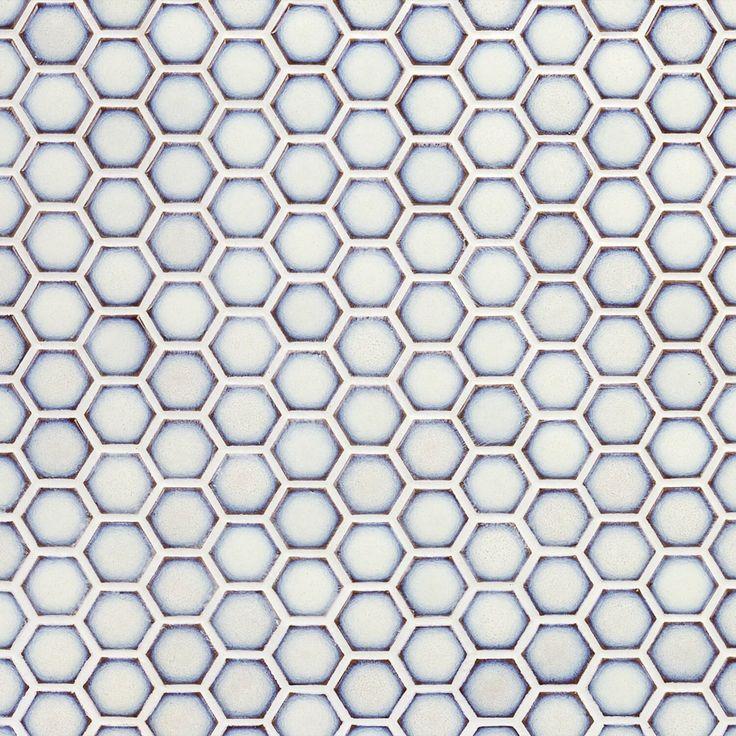 Eden Winter White Hexagon Polished Rimmed Ceramic Tile in ...