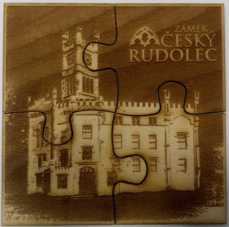 Puzzle - coasters - engraved with motive Castle Czech Rudolec. Whole size 19x19cm. Any of your own motive is possible.