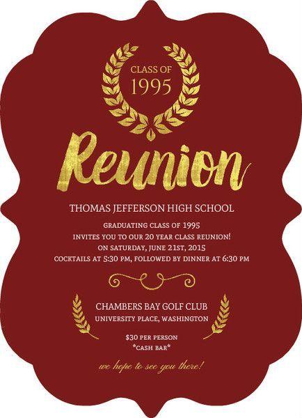 Beautiful Faux Gold Foil Class Reunion Invitation by PurpleTrail.com