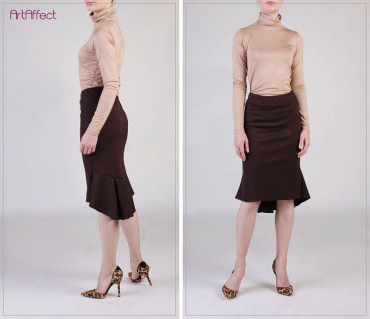 NEW  Back Pleated Fishtail Skirt, Brown Pencil Skirt, Ruffle Skirt, Winter Skirt, Fit and Flare Skirt, Peplum Hem Skirt - Coffee Brown Ponte by artaffect on Etsy https://www.etsy.com/listing/482177981/new-back-pleated-fishtail-skirt-brown