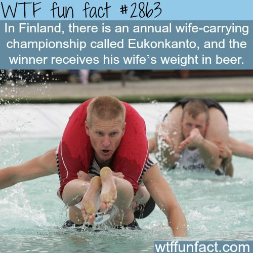 """Finland's Wife-carrying championship """"Eukonkanto"""" -  WTF fun facts"""