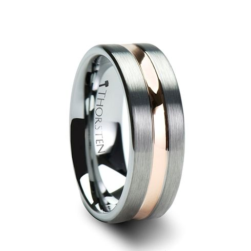 TONY Pipe Cut Brush Finished Tungsten Carbide Ring with Rose Gold Plated Groove 4mm - 10mm