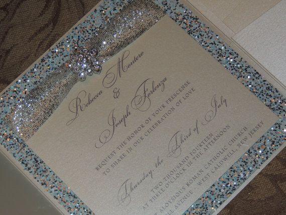 Glitter / Brooch Pocket Wedding Invitation   Winter Wedding Invitation