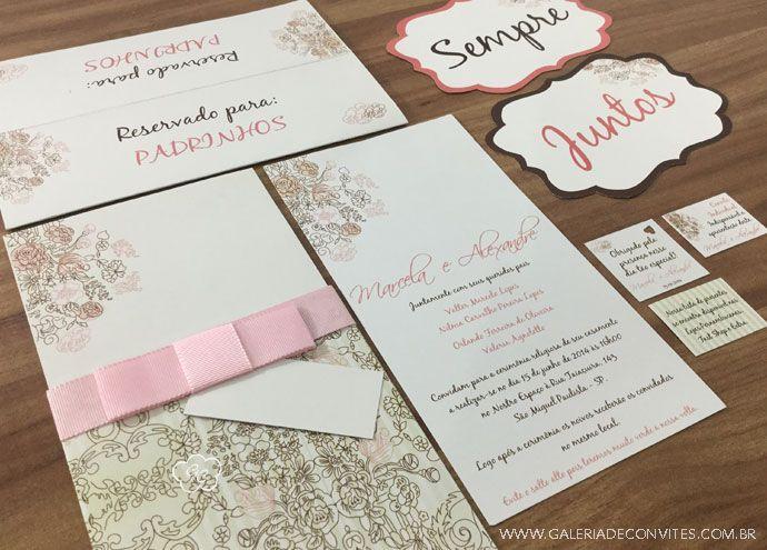 Identidade visual casamento marrom e rosa. Identidade visual de casamento formada por convite de casamento, cartão de reserva de mesa e cartão de agradecimento