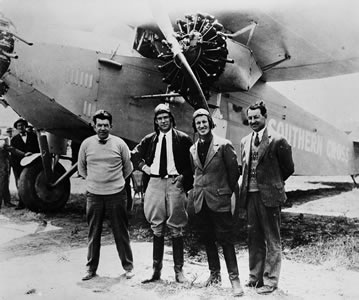 The crew that crossed the Pacific in 1928 for the first time; (left to right) Harry Lyon, Charles Ulm, Charles Kingsford Smith (pilot), and John Warner. Sir Charles Kingsford Smith MC, AFC (1897 – 1935), made global headlines in 1928, piloting the first trans-Pacific flight from the United States to Australia and the first eastward Pacific crossing from Australia to the United States. He also made a flight from Australia to London, setting a new record of 10.5 days.