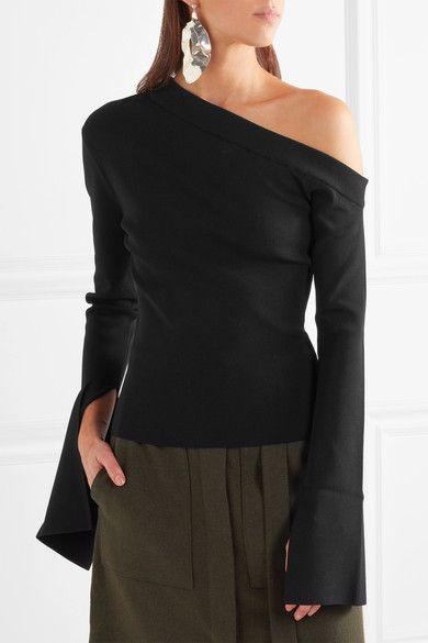 Solace London - Kelsey One-shoulder Stretch-knit Top - Black - UK10