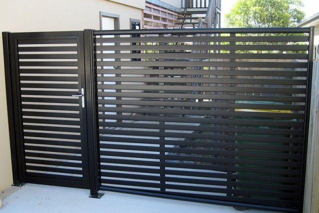 Aluminium Slate Style Charcoal Side Gate Fence