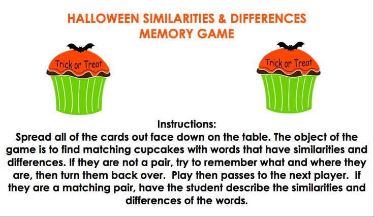 Speech and Language LaunchPad: Halloween Similarities and Differences Memory Game! *FREEBIE*