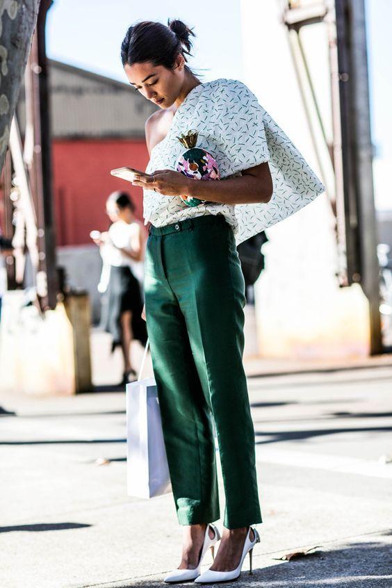 asymmetrical blouse + green pants
