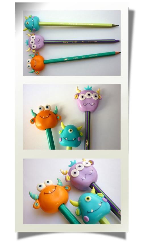 Lápis de monstrinhos, em biscuit, que fiz de brinde no aniversário de 5 anos do Rafa. Sucesso total!