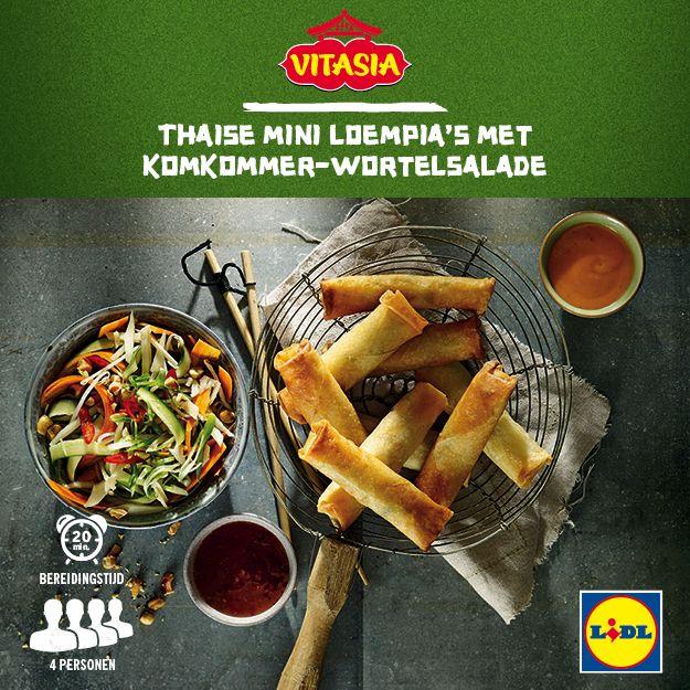 Deze Thaise mini loempia's met komkommer-wortelsalade zijn gemakkelijk zelf te bereiden! Meer Vitasia recepten ontdekken? Kijk op www.lidl.nl #Vitasia #Lidl