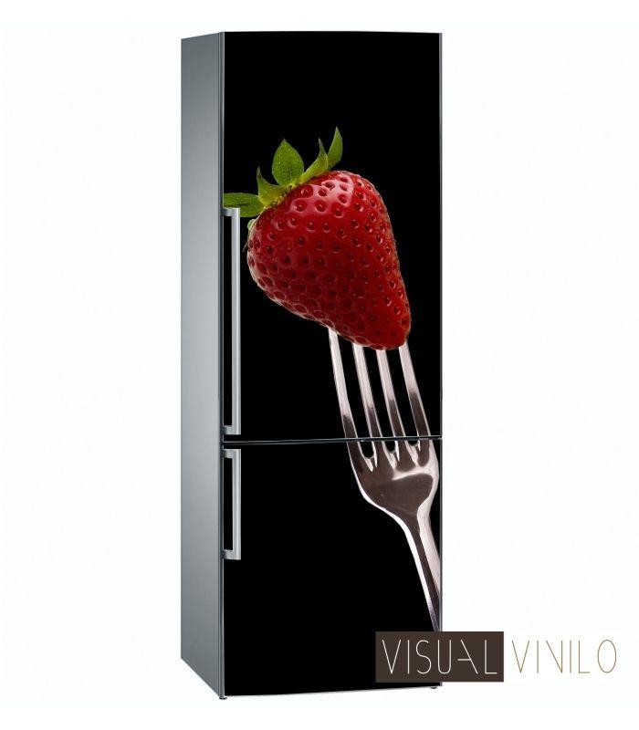 Da un toque elegante y muy tentador a tu frigorífico con este nuestro modelo estrella de vinilo decorativo para neveras.  http://www.visualvinilo.net/frigorificos-combis/305008-vinilo-para-nevera-fresa-en-tenedor.html#.Uwcw9T15N8E