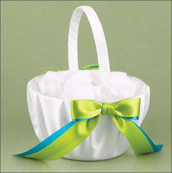Custom Flower Girl Basket Embellished With Your Choice Of Ribbon Colors Match The On To Wedding