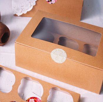 Grátis frete kraft cartão de papel do cupcake box 6 titulares cup cake muffin caixas de bolo caixa de seis bandeja sobremesa pacote portátil do presente do favor