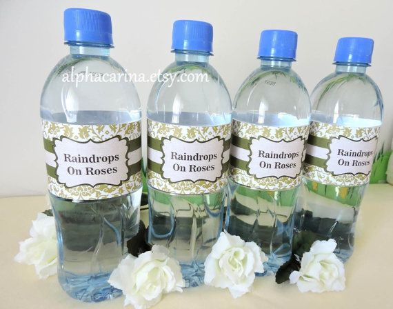 The Sound of Music Inspired / Green Damask Rustic / Water Bottle Labels.... Raindrops on Roses.... :-) AlphaCarina