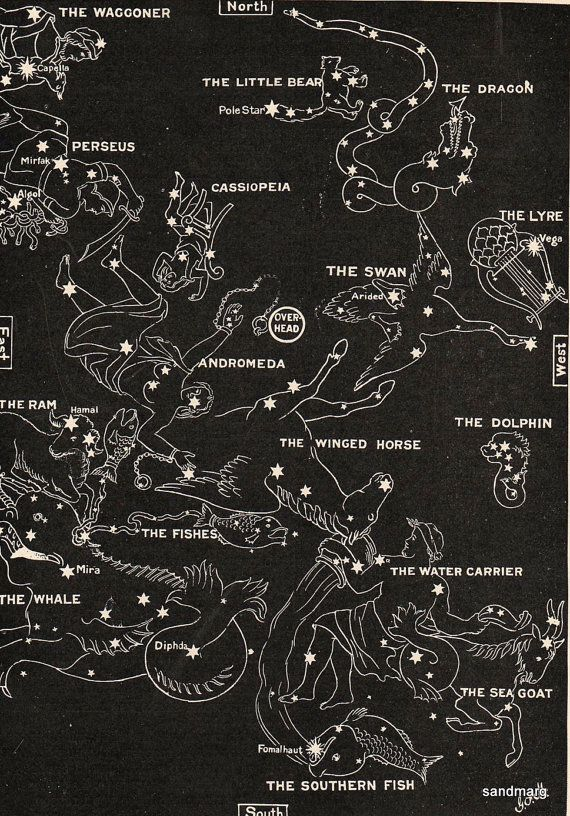 1902  Map of the Stars Chart in Autumn Aquarius Aries by sandmarg