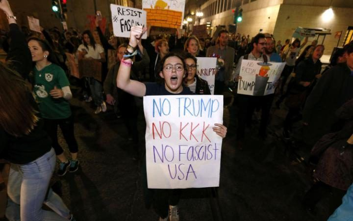 Protesters demonstrate against the election of Republican Donald Trump as President of the United States in New Orleans, Louisiana, USA