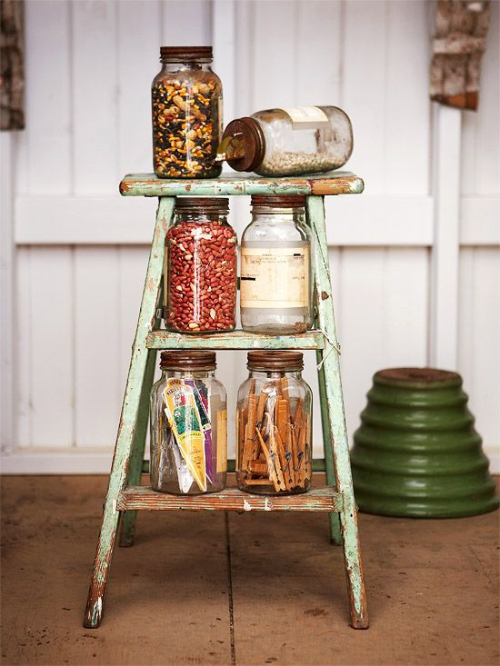 Do Double Duty, Part 2  Here's another great example of getting more in your space. An old stool is perfect for sitting on -- and for storing seeds, small tools, and other objects.