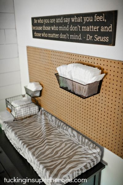 Pegboard for Holding Baby Changing Accessories - Genius!: Dr Seuss Quotes, Baby Changing, Nursery Baby, Baby Ostman, Hold Baby, Superhero
