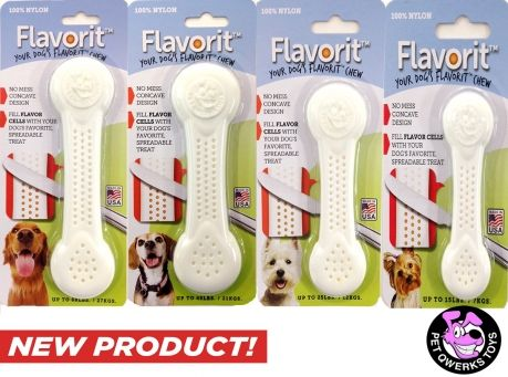 NEW PRODUCT! Flavorit Nylon Bones w/ Flavor Cells.  Spread some peanut butter on these and your dog will go to town! On sale (2-Pack) @Coupaw