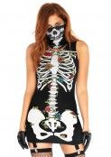 Image for 2 Pc. Skeleton Garter Dress & Face Mask - Small/ Medium