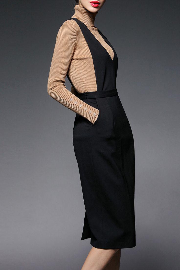 Black Midi Suspender Dress #fashionismypassion