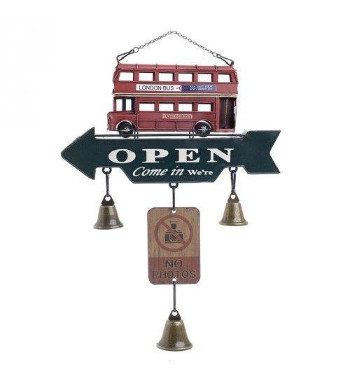 METALIC DOOR DECORATION 'OPEN' IN GREY_RED COLOR 28X5X36_5