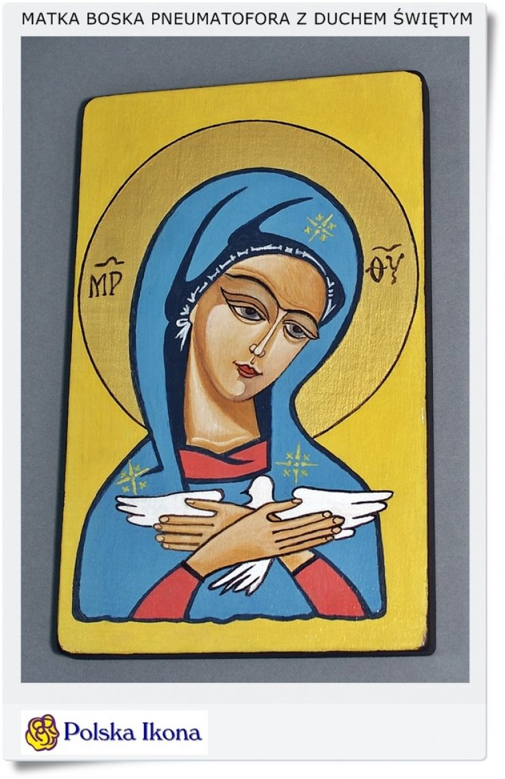Polska ikona na desce Pneumatofora Matka Boska z duchem Świętym