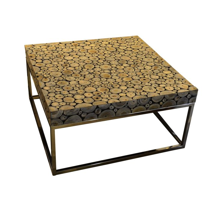Round Wood Mosaic Coffee Table A. A perfect piece of teak wood coffee table matched with stainless steel frame to enhance the beauty of your outdoor space.