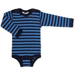 Joha body i mørkeblå og blå strib - 100 % uld