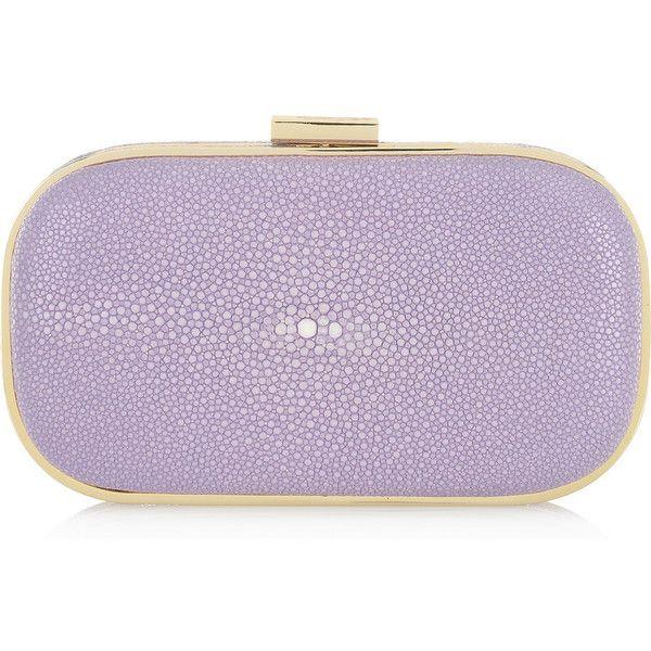 Anya Hindmarch Marano stingray shagreen box clutch (1,775 SGD) ❤ liked on Polyvore featuring bags, handbags, clutches, purses, bolsas, borse, box clutch, anya hindmarch purse, anya hindmarch and clasp purse