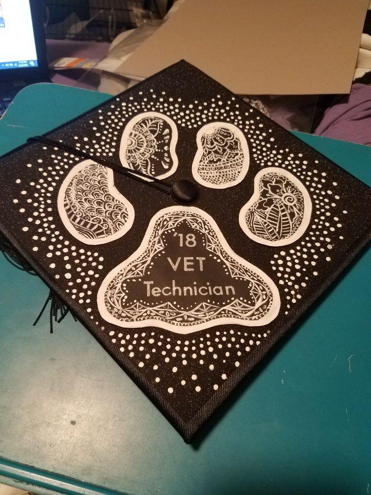 Graduation Cap Paw Print With Mandala Design For