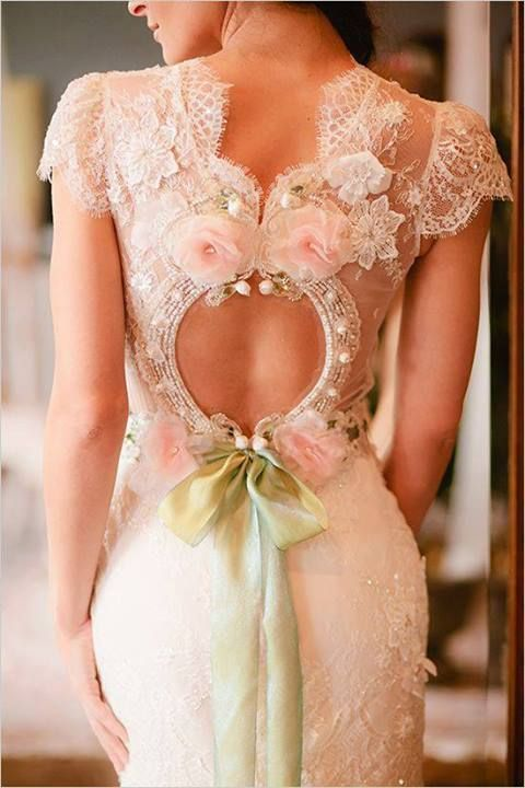 pink and green wedding dress
