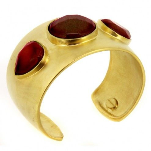 Lucas Jack Phoenix Gold Plated Ruby Coloured Stone Cuff Bracelet