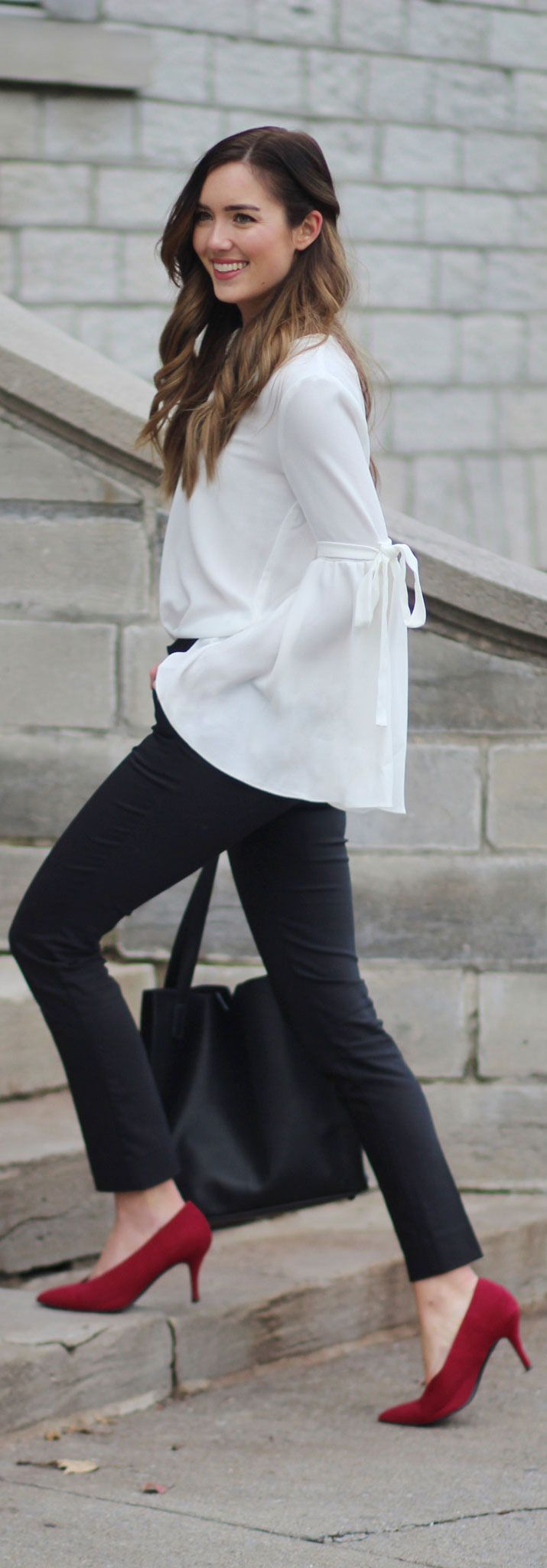 VEGAN FASHION: faux-suede heels and cruelty-free clothing (this white bell sleeve top is so affordable!) Perfect outfit for the holidays, work or any date night/night out! #fashion #fashionblogger #vegan #crueltyfree Marie's Bazaar