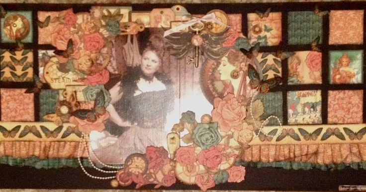 The double page kit design for July 2013 using Graphic 45 Steampunk Debutante papers and die cut tags.