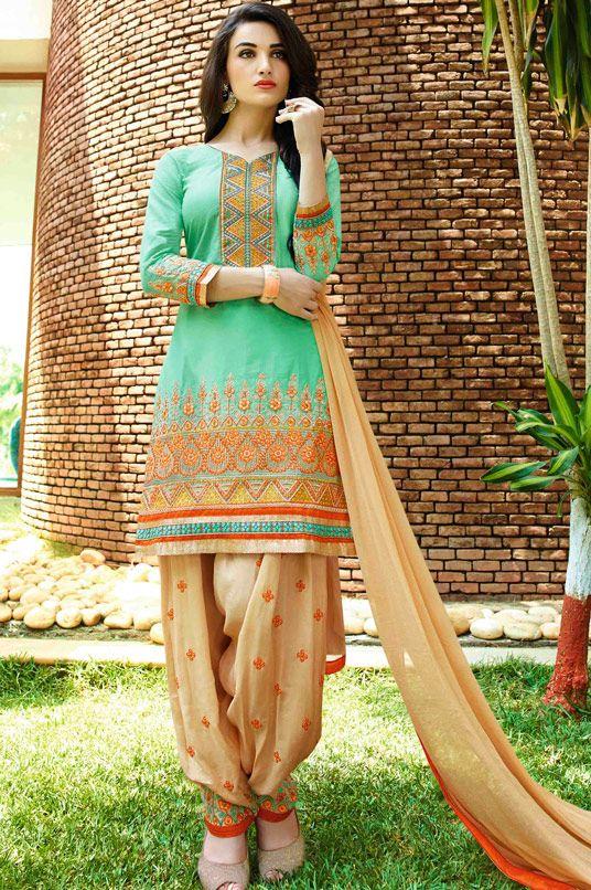 USD 32.90 Sea Green Cotton Punjabi Suit 48416