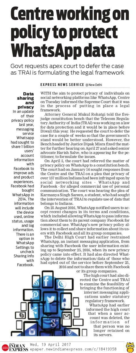 The Centre has told the Supreme Court that it was actively considering to get a law to protect data and curb sharing of individual data on social networking sites and online messaging services.
