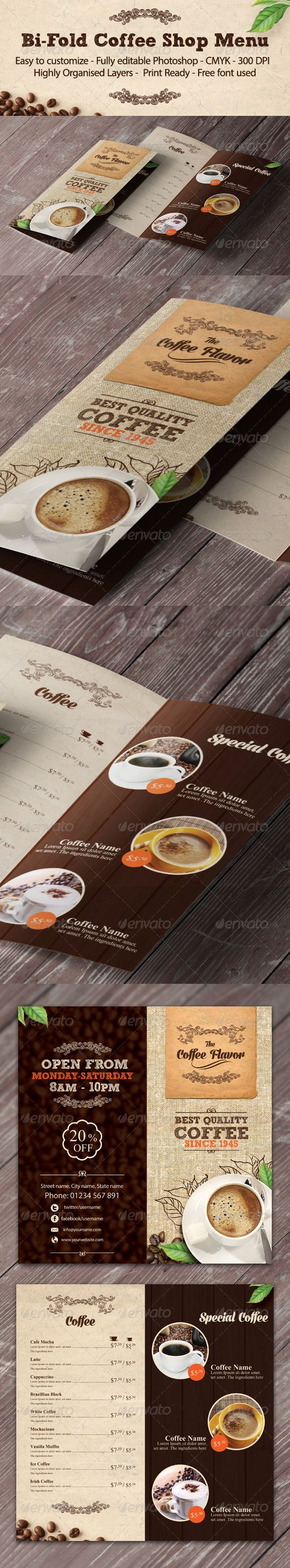 Bi-fold Coffee Shop Menu Template #design #speisekarte Download: http://graphicriver.net/item/bifold-coffee-shop-menu-template/8023992?ref=ksioks
