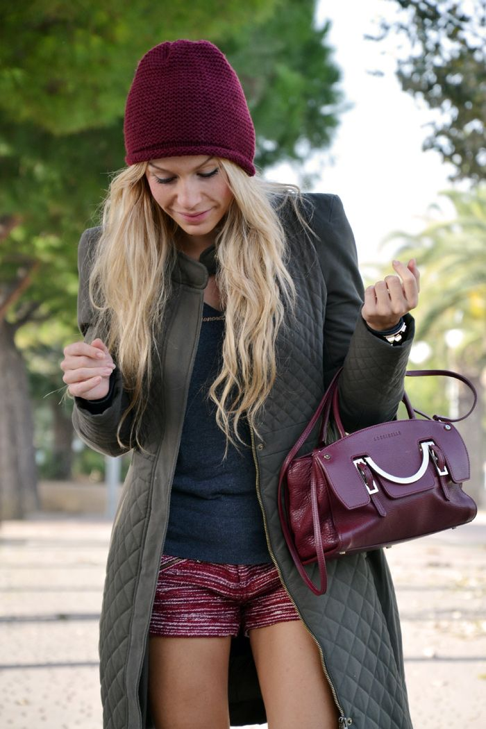 Military green Zara coat, burgundy shorts and Coccinelle bag - fall winter 2013