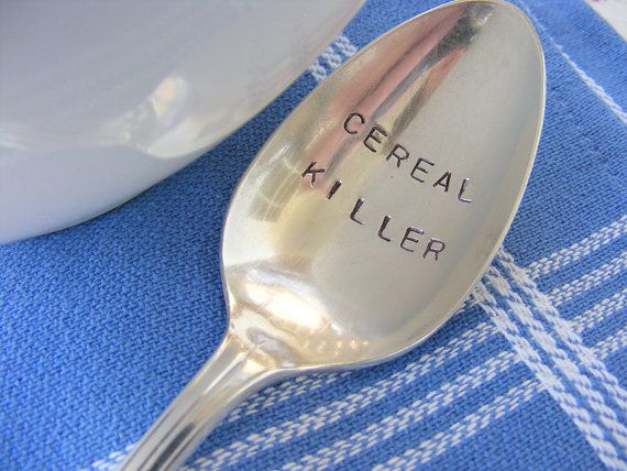 cereal killerHands Stamps, Spoons, Giftideas, Gift Ideas, Cereal Killers, Breakfast, Serial Killers, Funny, Baby Puppies