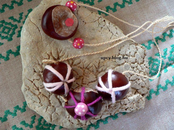 Chestnut, bead, yarn necklace Gesztenye, gyöngy, fonal - nyaklánc útmutató