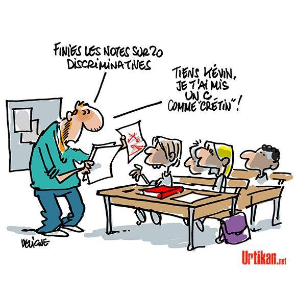 Faut-il supprimer les notes à l'école ? - Dessin du jour - Urtikan.net