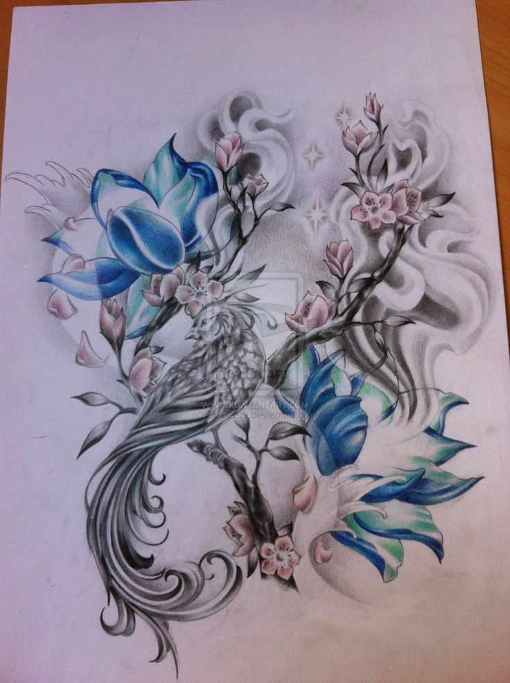 Blue Lotus And Phoenix Tattoo Design                                                                                                                                                                                 Más