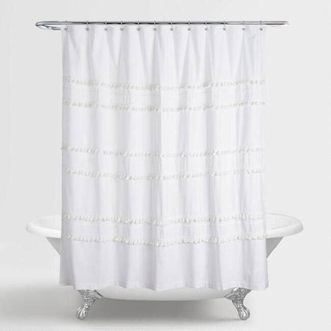 White Tiered Tassel Renata Shower Curtain With Images Restroom