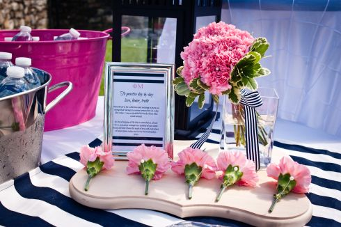 sorority appreciation corsage at the wedding ceremony Credit: Amanda Gilley Photography