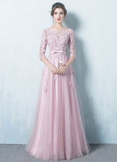 Robe de soirée rose Tulle Backless robe dentelle Applique trois quarts manches Sash A ligne Occasion Maxi robe de bal